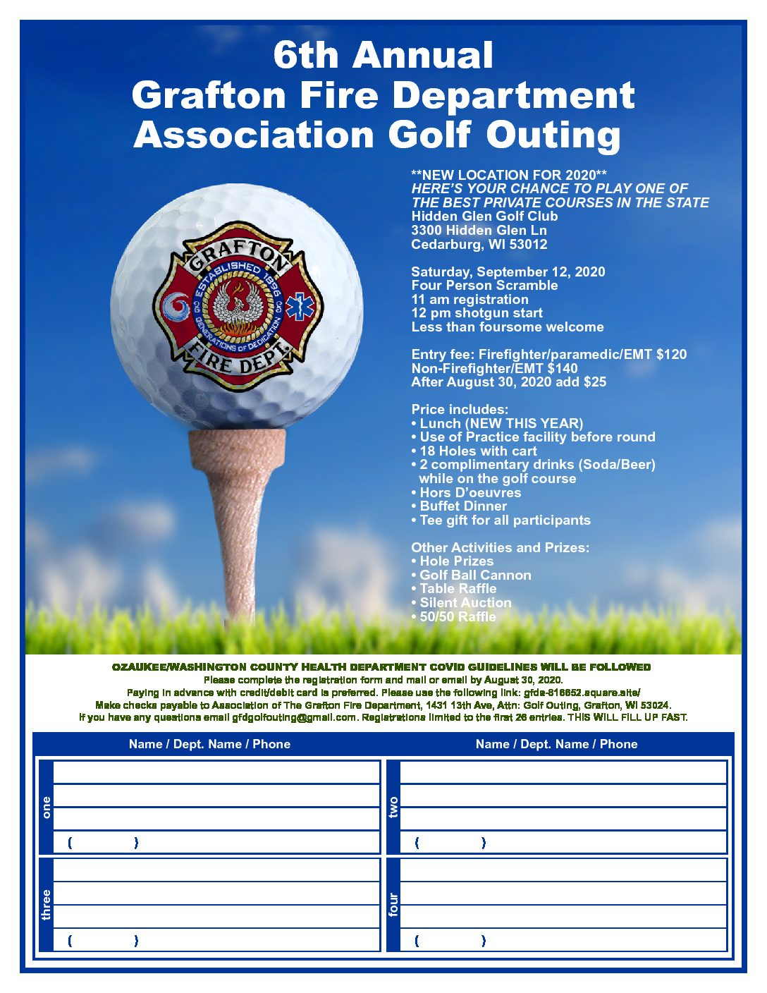 6th Annual  Grafton Fire Department Association Golf Outing